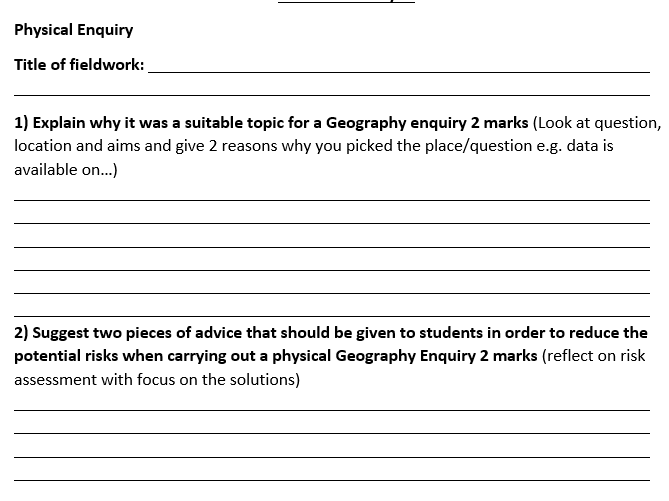 AQA Geography 9-1 - Fieldwork Studies - Student Exam Questions Booklet Unit 3