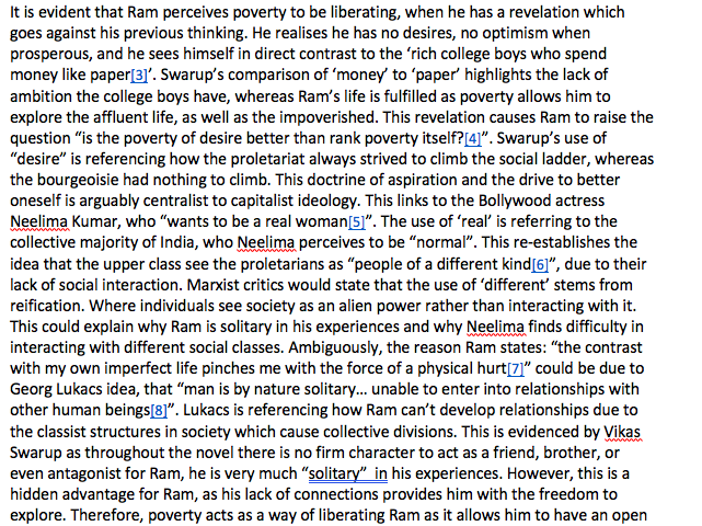 A Grade AQA A-Level English Literature Prose Coursework - Marxism, Slumdog Millionaire