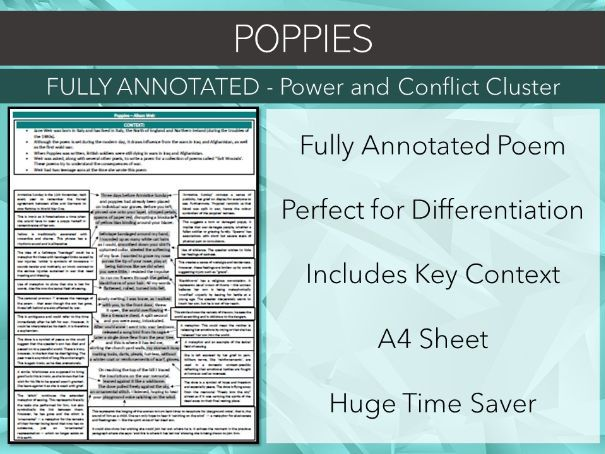 Poppies Annotated Poem