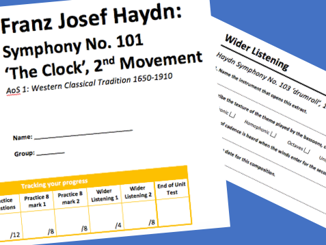 KS4: Haydn Symphony No. 101 ' the clock' Workbook (AQA GCSE Music)