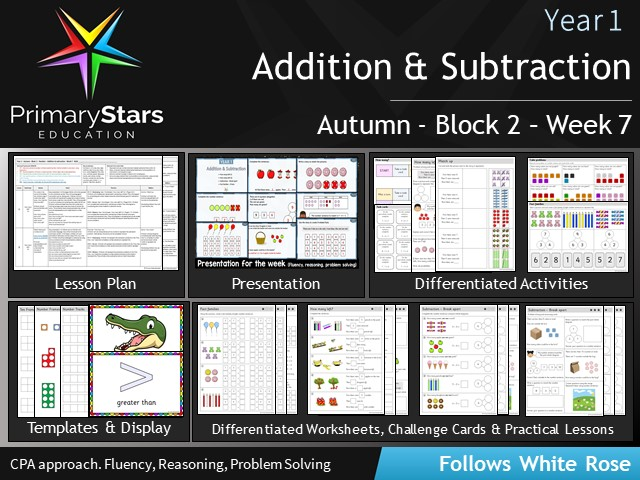 YEAR 1 - Addition Subtraction - White Rose - WEEK 7 - Block 2 - Autumn - Differentiated Resources