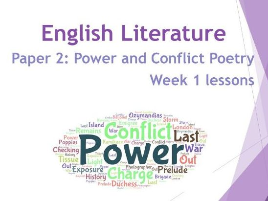 AQA Literature: Power & Conflict Poetry 8 Week Unit of Work - Week 1 lessons