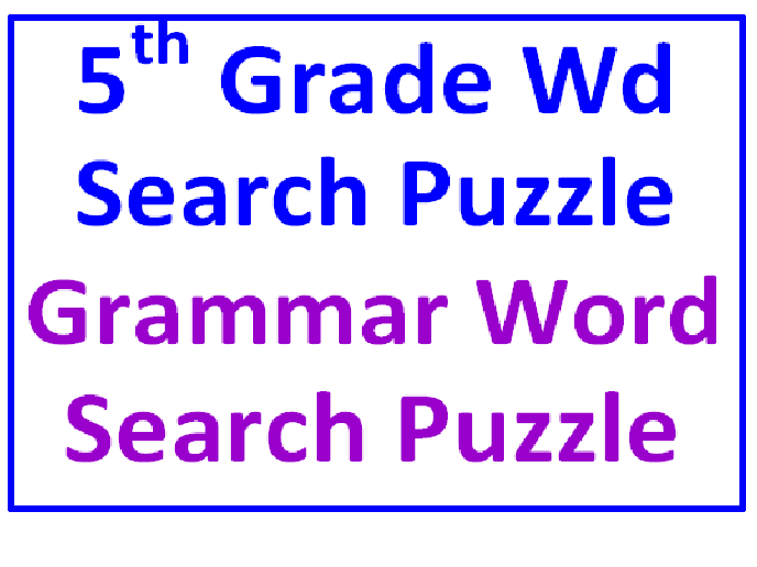 Fifth Grade Word Search Puzzle PLUS Grammar Word Search (2 Puzzles)