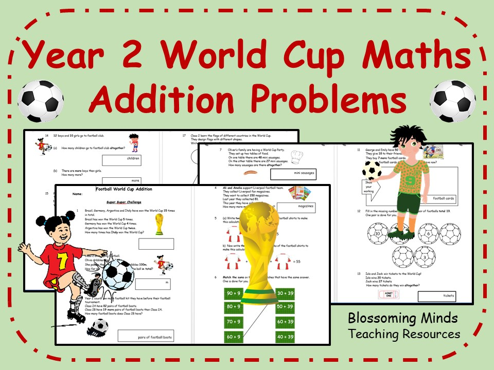 Year 2 World Cup 2018 Maths - Addition - Differentiated Levels