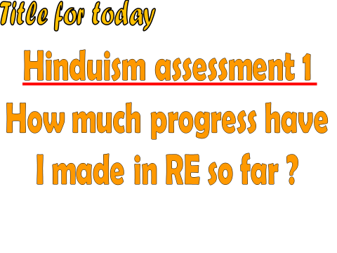 Hinduism end of topic assessment for KS3