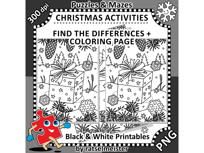 Christmas Activities: Gift Box Find the Differences and Coloring Page