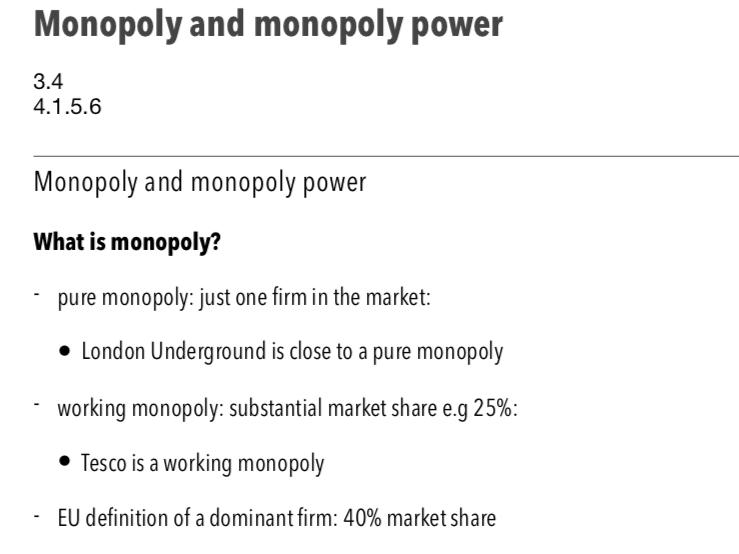 Monopoly - A Level Economics