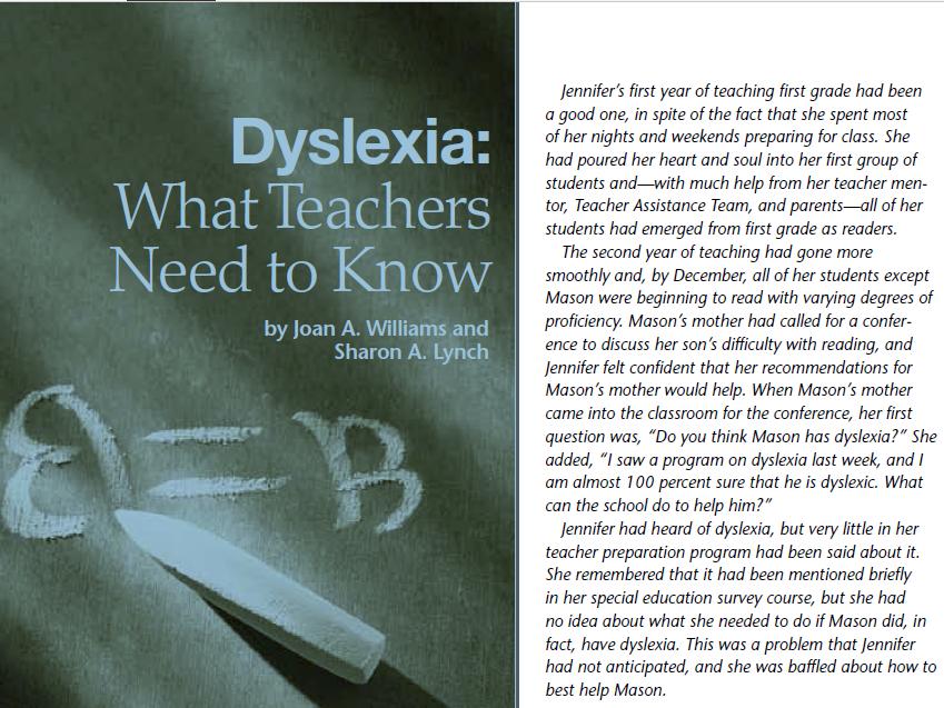 Dyslexia: What Teachers Need to Know