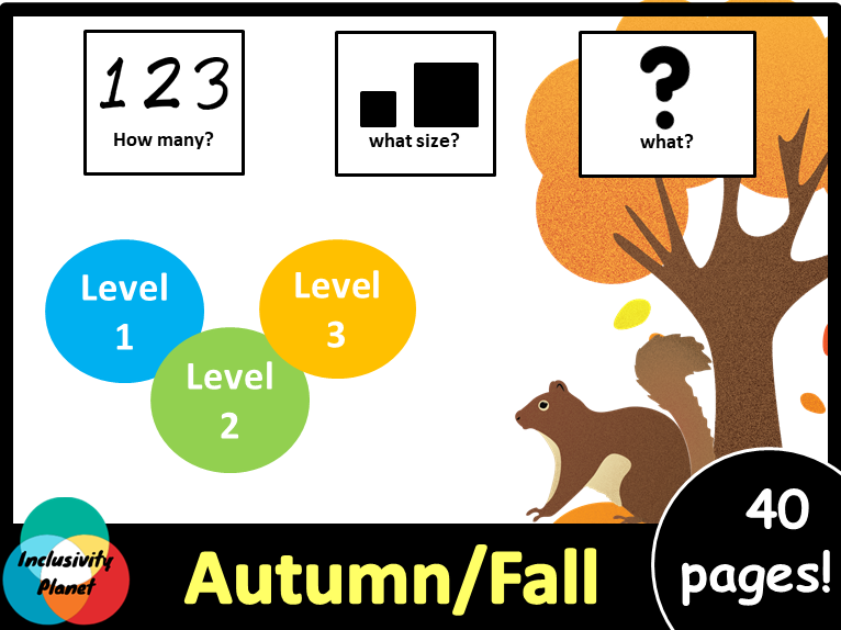 Autumn/Fall HOW MANY, WHAT SIZE, WHAT? Adapted book level 1, level 2 and level 3