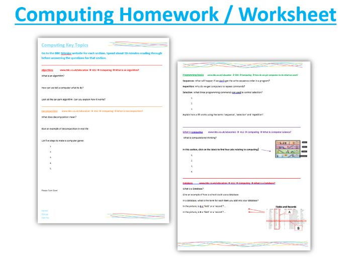 Computing Worksheet / Homework KS2 or Year 7