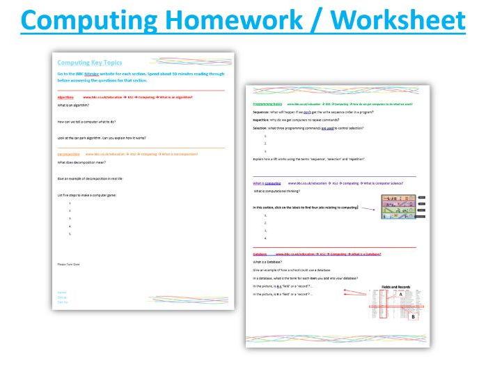 Computing Worksheet / Homework KS2 or Year 7