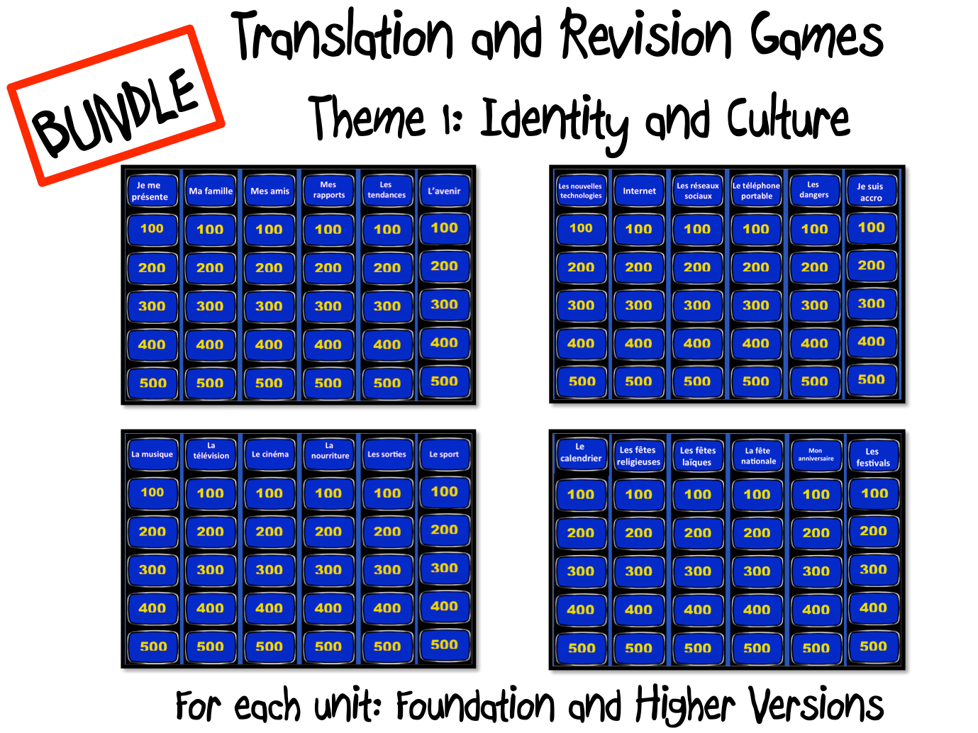 BUNDLE- Translation and Revision Games-Theme 1- GCSE French
