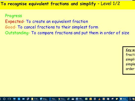 Lesson slides for teaching equivalent fractions and cancelling fractions