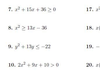Linear and quadratic inequalities worksheets (with solutions)