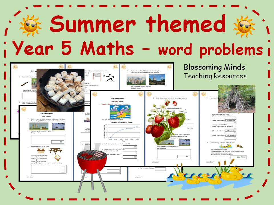 Summer themed end of term Year 5 Maths - all topics - differentiated levels
