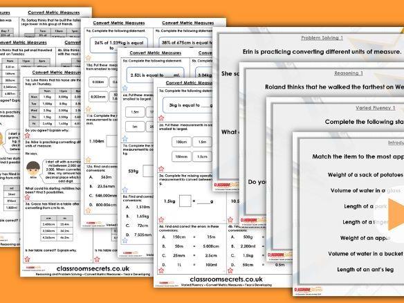 Year 6 Convert Metric Measures Spring Block 4 Step 2 Maths Lesson Pack