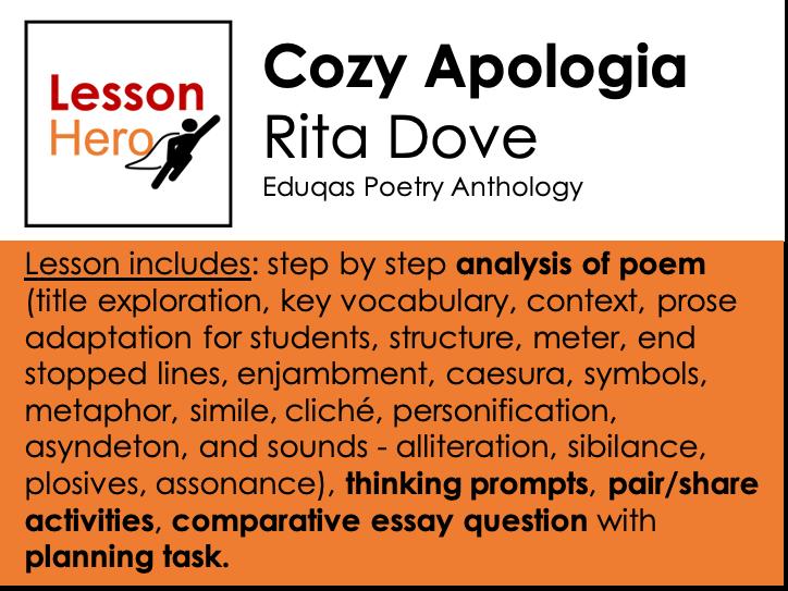 Eduqas Cozy Apologia - Explore poem + comparative essay task