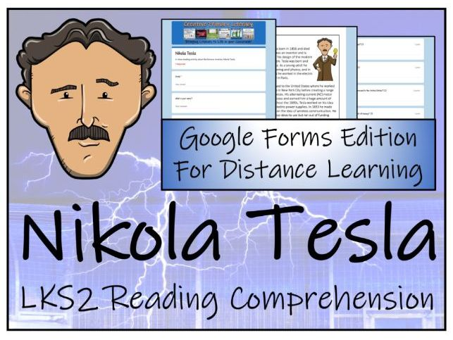 LKS2 Nikola Tesla Reading Comprehension Activity | Digital & Print