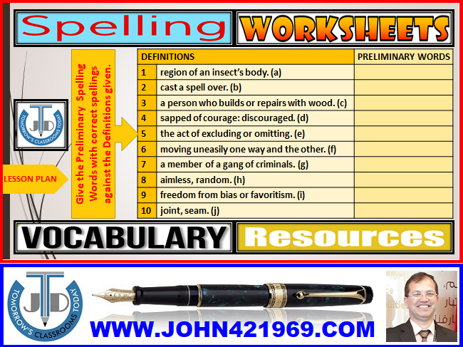SPELLINGS: WORKSHEETS WITH ANSWERS