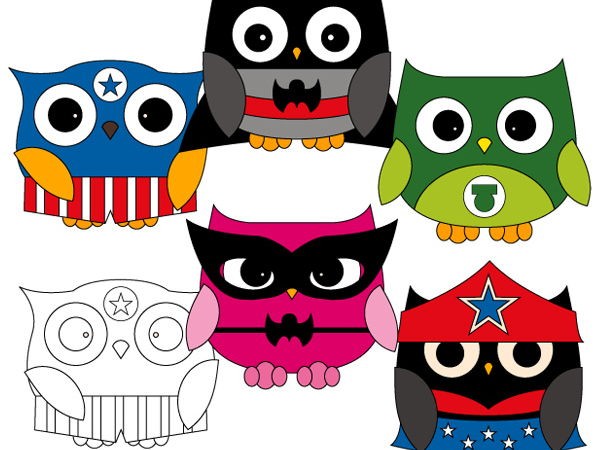 Superhero owl team clip art - New owl superhero clipart in bright colors