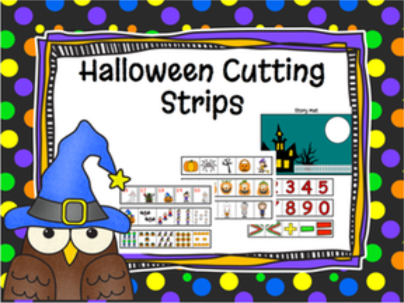 Halloween Cutting Strips and Math Activities