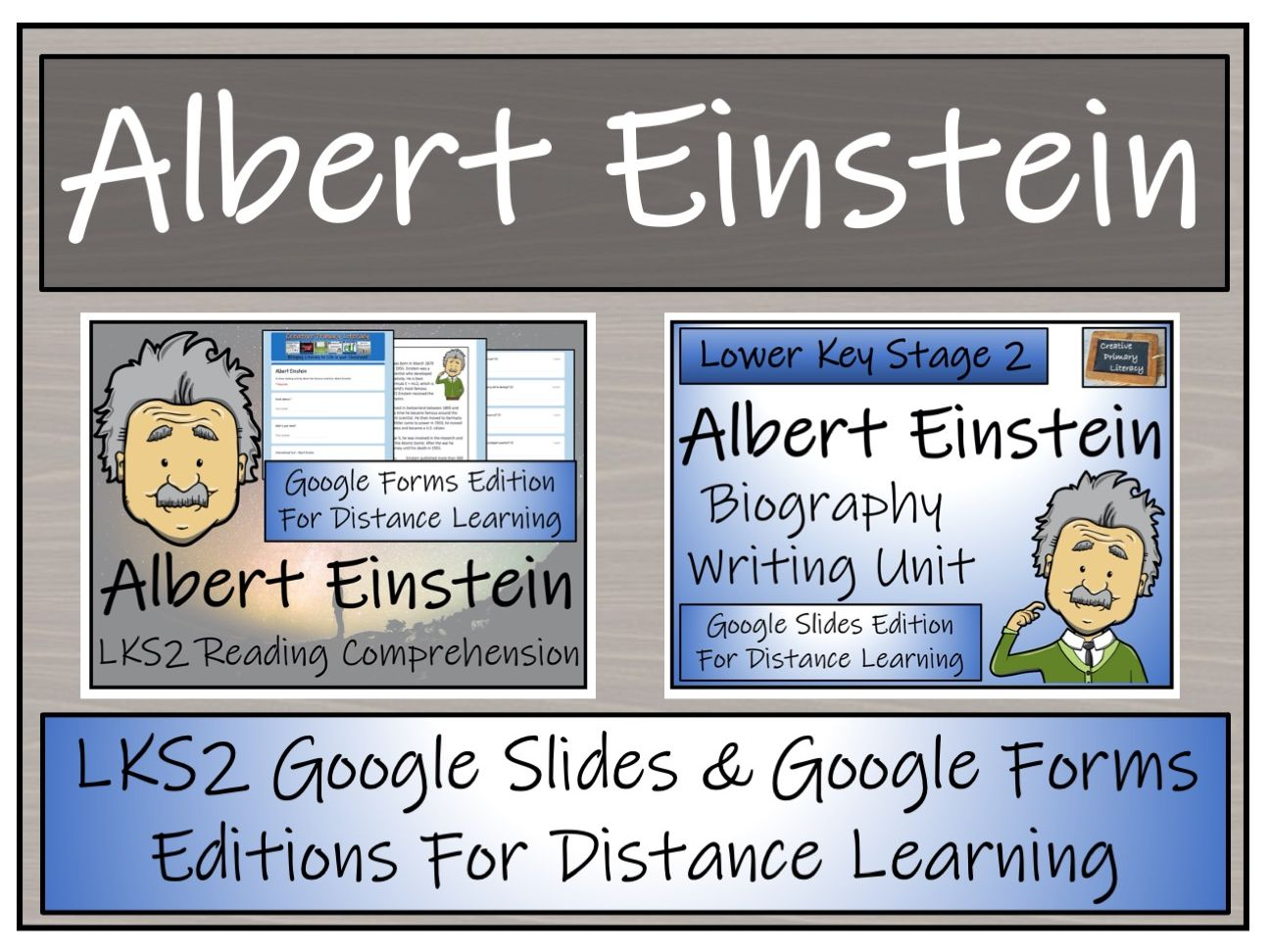 LKS2 Albert Einstein Biography & Reading Comprehension Distance Learning Bundle
