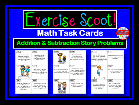 Addition and Subtraction Story Problems w/in 20-Math Task Cards -Exercise Scoot!