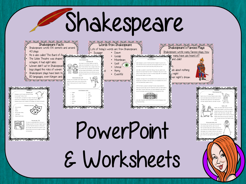 Shakespeare  -  PowerPoint and Worksheets
