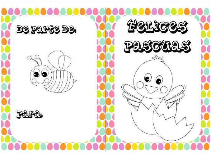 Spanish Easter colouring cards 6
