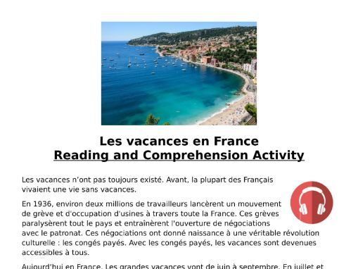 French Holidays (Les Vacances) Listening MP3 & Transcript