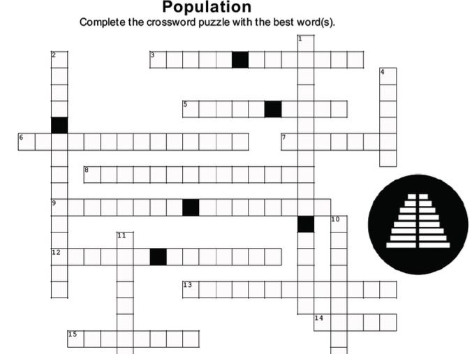 POPULATION Crossword Puzzle w/ answer key (version 1) (Cambridge A-level)
