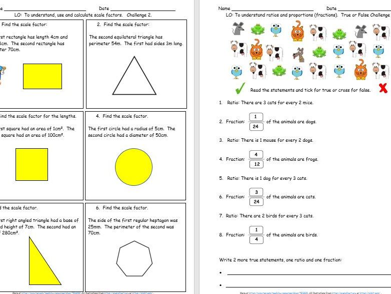 Ratio, Scaling and Proportion Y6 Presentation & Differentiated Challenges - Free Taster