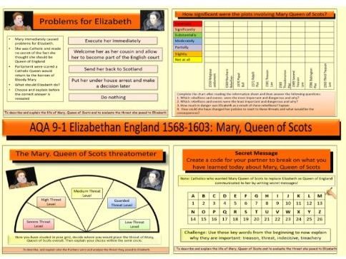 AQA 9-1 GCSE History Elizabethan England 1568-1603: The threat of Mary, Queen of Scots to Elizabeth