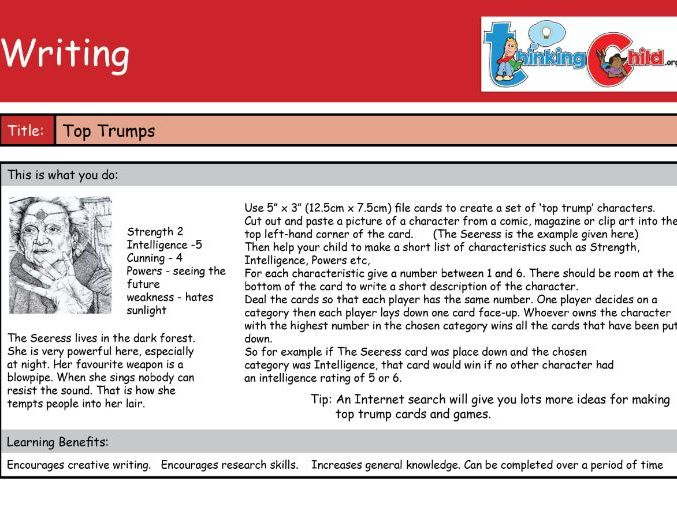 Writing Activity Cards -Over 70 Ideas - year 3/4