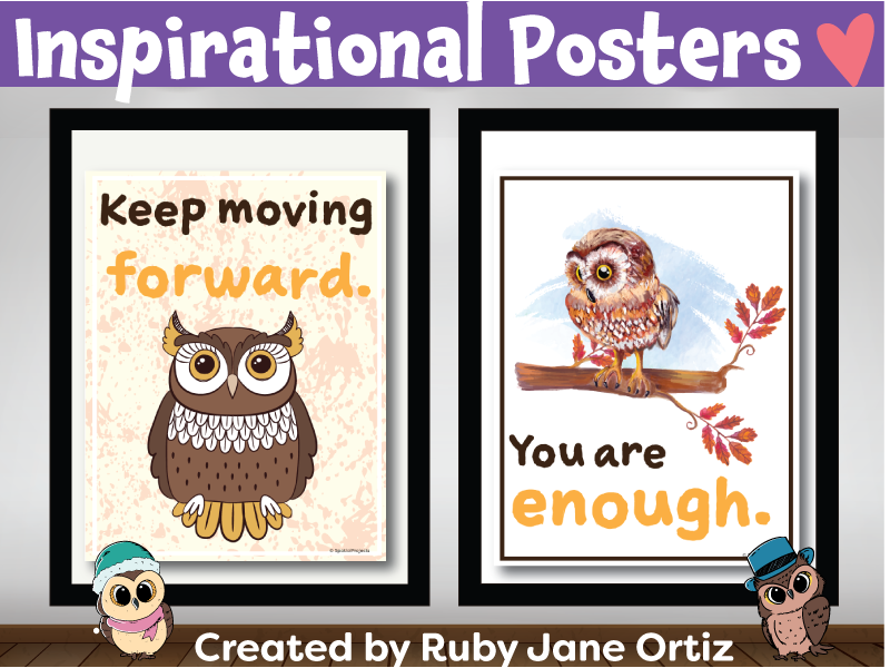 Inspirational Posters (Classroom Decor) for Back to School Bulletin Board - Owl Theme
