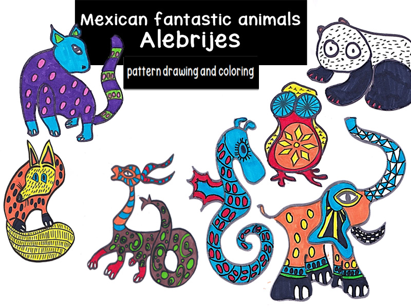 Coloring page and patterns fantastic animals