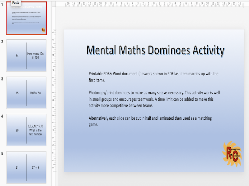Mental Maths Dominoes Activity