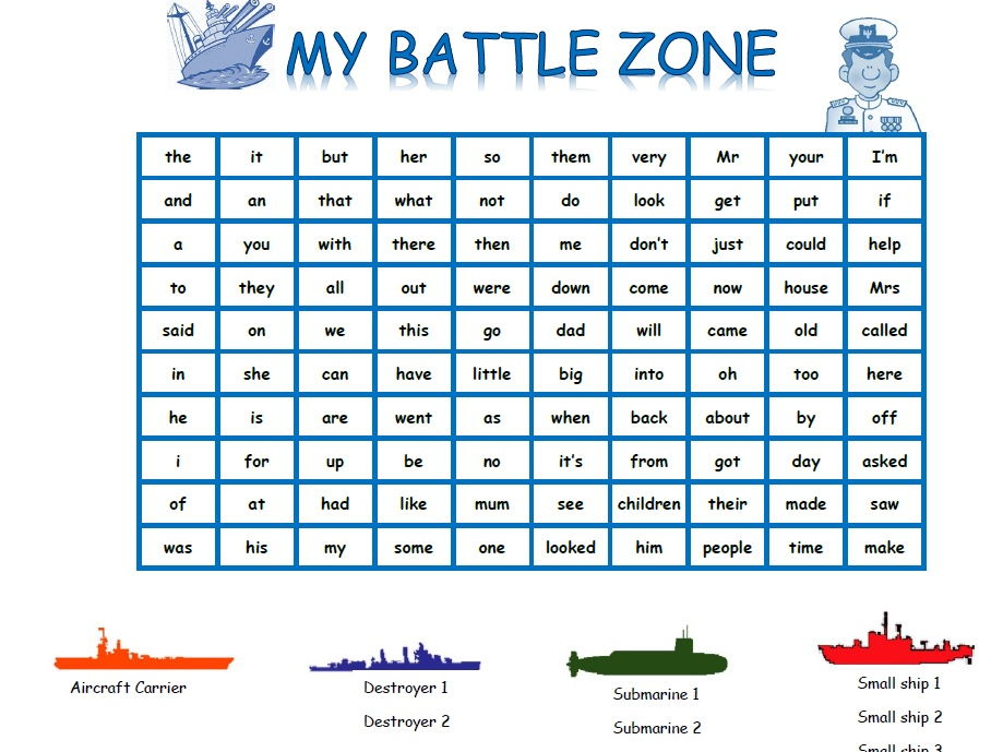 High Frequency Words Battleship game