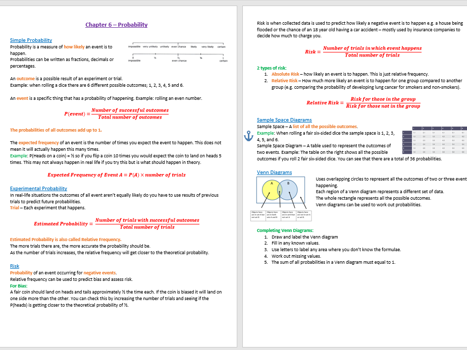 Probability Revision Notes (GCSE Statistics)