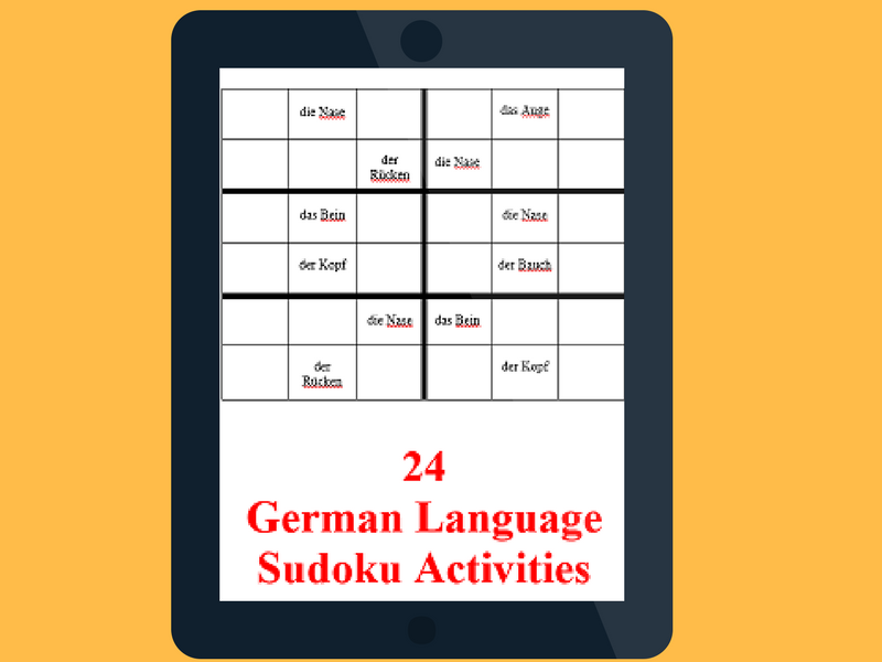24  German Language Sudoku Activities