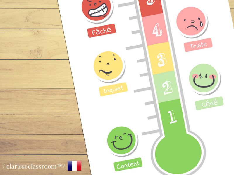 French Feelings Thermometer⎜Emotional development⎜Printable Worksheet⎜Learning French