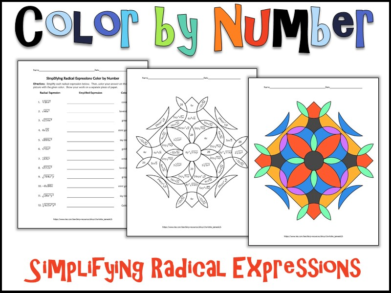 Simplifying Radical Expressions Color by Number by – Simplifying Radical Expressions Worksheets