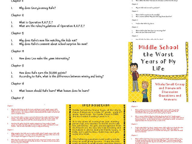 Middle School the Worst Years of My Life Discussion Questions and Answers