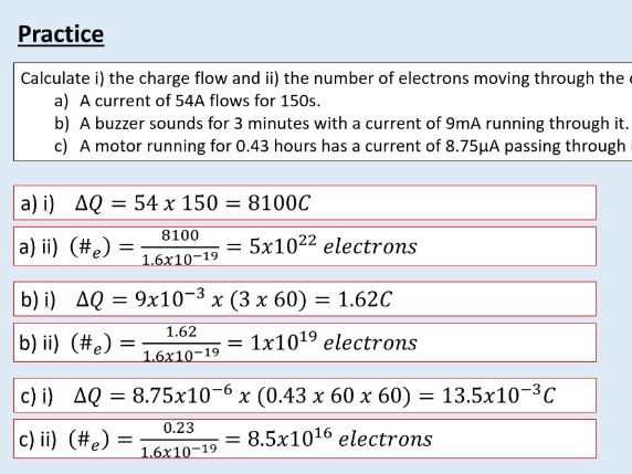 A level Physics (12.1) Current and charge (Electric current)