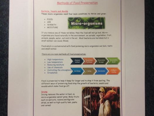 Methods of Food Preservation GCSE Food Preparation and Nutrition