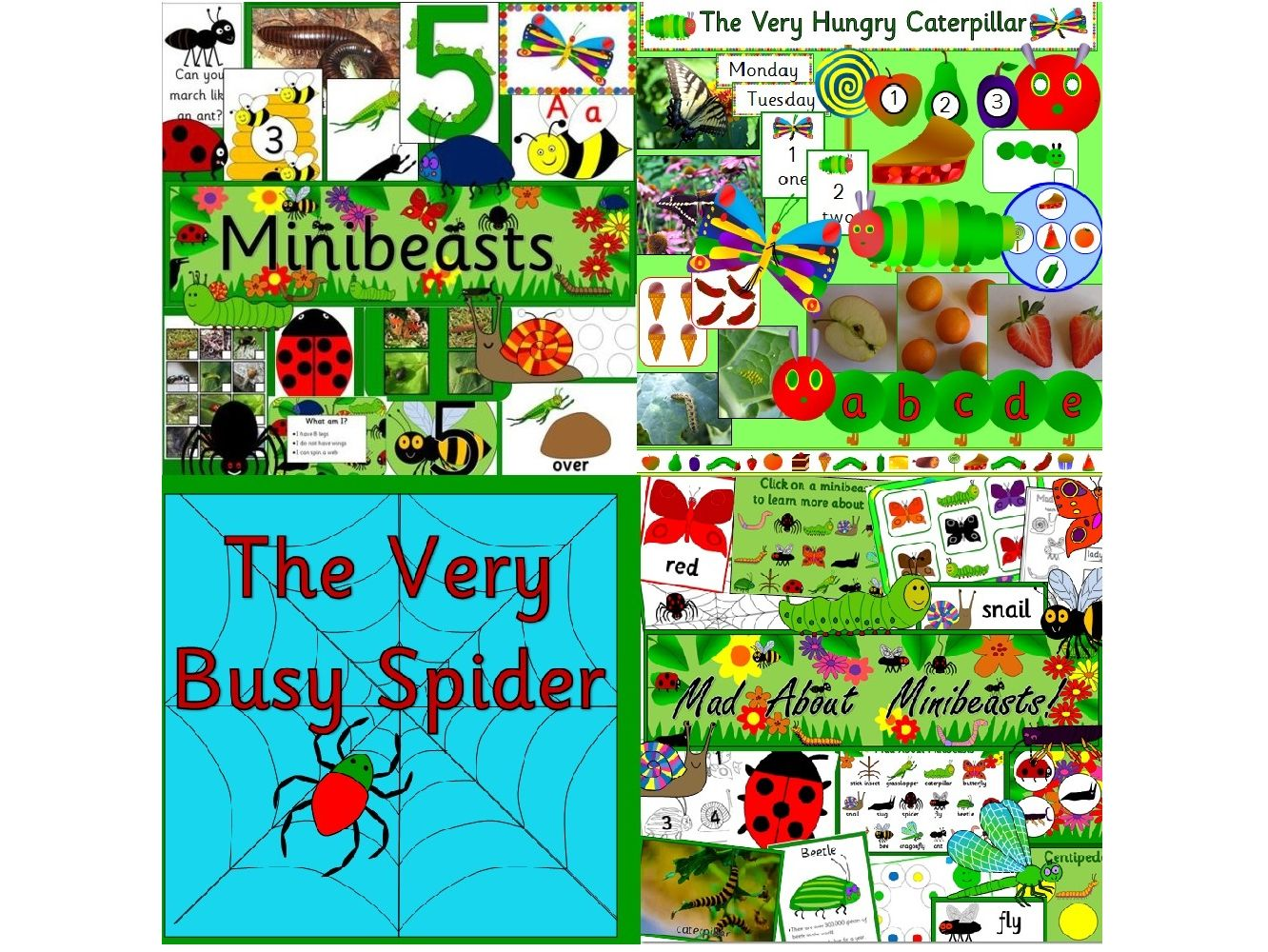 Minibeasts topic pack and story resources- Very Hungry Caterpillar