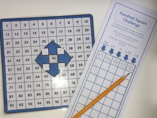 100 Square with Pointer for +1, -1, +10, -10 and Challenge worksheet
