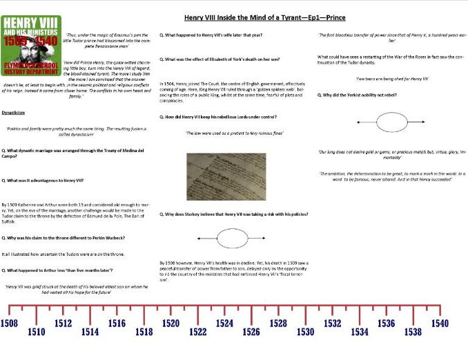 Henry VIII - Inside the Mind of a Tyrant - Ep1. Prince - Supporting Worksheet