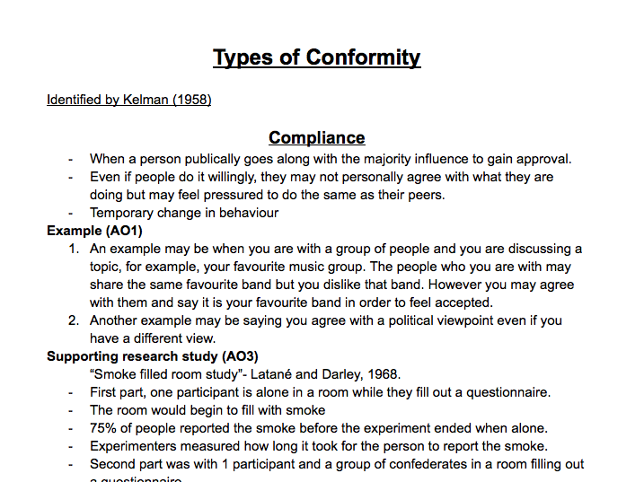 A Level Psychology Social Influence: Types of Conformity
