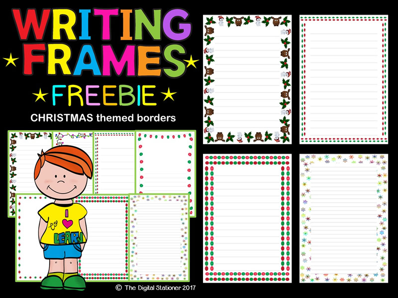 Christmas Winter Writing Frames, Page Borders FREEBIE - 35 printables